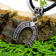 Stainless Steel & Black Ion Hammered 'Lucky' Horseshoe Pendant Leather Necklace