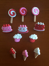 Pink white lollipop cupcake cake ice cream Novelty Dress It Up Buttons  8104