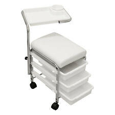 WHITE Pedicure Manicure Nail Salon SPA Cart Trolley Stool CHAIR w/ Shelves