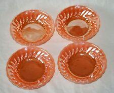 Vintage Anchor Hocking Fire-King Orange/Peach Lustre Dessert/Pudding Dish x 4