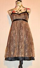Lipsy Black Babydoll Party Dress with Sheer Gold Lace Adjustable UK 10 12 S M