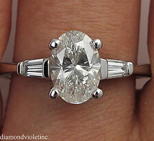 1.65CT ESTATE VINTAGE OVAL DIAMOND ENGAGEMENT WEDDING RING PLATINUM EGL USA