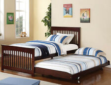 NEW ARON CAPPUCCINO FINISH WOOD TWIN BED w/ ROLL OUT POP-UP TRUNDLE