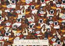 Dog Puppy Bull Dogs Dalmatian Hound Timeless Treasures 7413 Cotton Fabric 1.39Yd