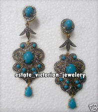 Victorian Vintage 12.25Ct Rose Cut Diamond .925 Silver Turquoise Earring Jewelry