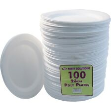 "200 X WHITE FOAM PLATES 23cm 9"" DISPOSABLE CATERING PARTIES PARTY SUPPLIES FOOD"
