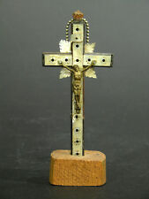 Late 19th Early 20th C Crucifix, Jerusalem, Composition Cross, Abalone Inlay, Me