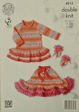 KNITTING PATTERN Baby's Frilled Poncho Dress Hooded Jacket &Mittens DK KC 4313