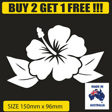 WHITE hibiscus hawaiian flower decal for car , computer , surfboard
