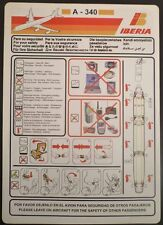 IBERIA spanish airline airbus A 340 SAFETY CARD airline brochure leaflet ee e176