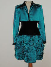 Fiandaca Couture Turquoise Satin Black Velvet Dress w Ruched SKirt / Jacket SM