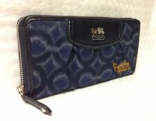 Coach 48666 Madison Op Art Ikat Accordion Zip Around Wallet NAVY Blue NWT Rare!