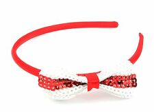 100 Sequinned St George Cross Bow Alice Bands Red & White