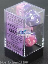 CHESSEX GEMINI DICE - 7 DIE SET PINK-PURPLE WHITE D20 D10..