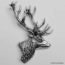Stag Head Pewter Pin Brooch -British Hand Crafted- Deer Antler Hunting Stalking