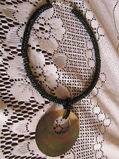 Black Ceramic Bead Cluster Necklace with Abalone Shell Circle Pendant