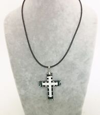 "BLACK LEATHER NECKLACE+MOTHER OF PEARL+ABALONE SHELL 2 1/4"" CROSS SIGN PENDANT"