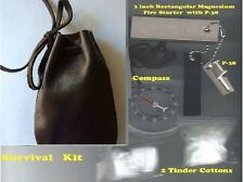 NEW FIRESTEEL KIT MAGNESIUM FIRESTARTER + P31 + COMPASS + WHISTLE -LEATHER POUCH