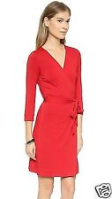 NWT Diane von Furstenberg Poppy Red Julian Two Mini Wrap Dress 14 NEW