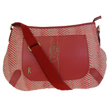 Authentic ROBERTA DI CAMERINO Shoulder Bag Straw Canvas Leather Red Italy 06F311