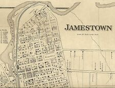 Jamestown NY 1867 Map with Homeowners Names Shown and Business Directory