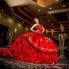 Sweetheart Red Ball Gown Quinceanera Dresses gold embroidery sweet 16 Dress