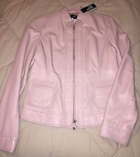 PHILIPPE ADEC LADIES FINE LEATHER JACKET PETALE PINK NEW WITH TAG