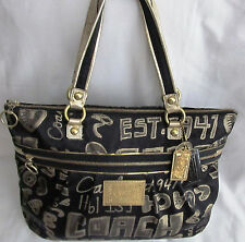 Large Coach Signature Poppy Metallic Glam Story Patch Black Gold Tote Bag Purse