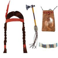 Ladies Indian Pocahontas Wig Choker Pouch Bag Tomahawk Fancy Dress