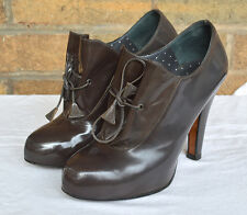 Moschino Cheap and Chic Lace Up Patent Boots Bootie Gray Size 36 6 $545