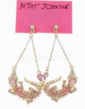BETSEY JOHNSON 'Reptiles' Pave Alligator Gold-Tone Swag Drop Earrings