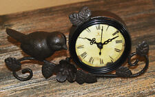 Antiqued Vintage Bird on a Branch Tabletop Mantel Clock