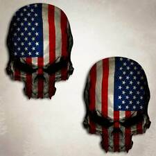 Skull Decal American Flag Military Window Sticker 2 Decals Car Truck 4 inch size