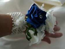 WRIST CORSAGE, IVORY,NAVY BLUE. PROM, BRIDESMAIDS, WEDDINGS