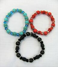 Wholesale 12 PCS Stretch Beaded Crystal Bracelets Mixed Colors # 1789  NEW
