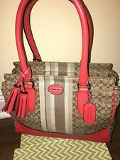 Coach Legacy Signature Orange Stripe Candace Carryall Purse Satchel Bag-19915
