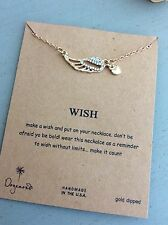 "NECKLACE PENDANT CHARM WISH 16"" GOLD BIRTHDAY GIFT GIRL ANGEL WINGS A"