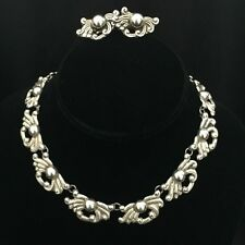 RARE! TAXCO STERLING SILVER NECKLACE, EARRINGS SET