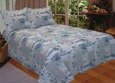 Blue Harbour Queen Quilt Rustic Country Block Patch Print