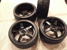 KYOSHO INFERNO GT, GT2, 4 SEMI SLICK TYRES ON BLACK WHEELS IGH004, SPECIAL OFFER