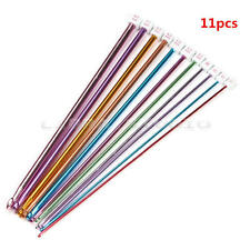 11pcs 10.6'' Multicolour Aluminum Tunisian Afghan Crochet Hooks Knitting Needles