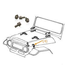 FJ40 Hood Hold Down Hook Stainless 316 Screw Bolt & Hardware Kit Land Cruiser
