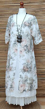 LAGENLOOK LINEN AMAZING BOHO 2 PCS LONG DRESS+FLORAL OVER DRESS*WHITE*SIZE L