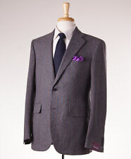 NWT $3495 SARTORIA PARTENOPEA Gray-Orange Stripe Flannel Wool Suit 46 R (Eu 56)