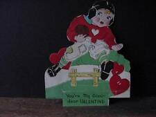 Vintage 2-D VALENTINE-FOOTBALL Boy in Patched Uniform Jumping Over Goalpost-1935