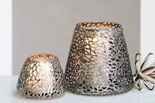 """CASABLANCA Deko Windlicht """"Purley"""" Metall antik-silber Höhe 11cm Du. 14 cm"""