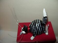 NWT Black white tabby kitten cat w/mouse in mouth RUSS Kool Kats ornament in box
