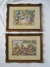 2 French Provincial Picture Frames 9x12 Faux Needlepoint Edwardian Victorian