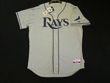 Authentic Majestic SIZE 52 2XL TAMPA BAY RAYS, ROAD GRAY, COOL BASE Jersey