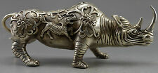 Collectible Decor Old Handwork Silver Plate Copper Carved Big Rhinoceros Statue